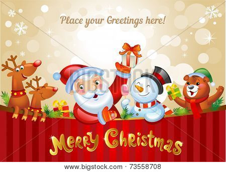 Christmas background with Santa Claus, a snowman, and other Christmas characters