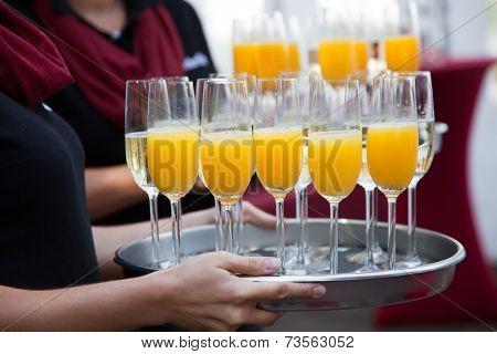 Plenty Juice And Wine Glasses On Tray