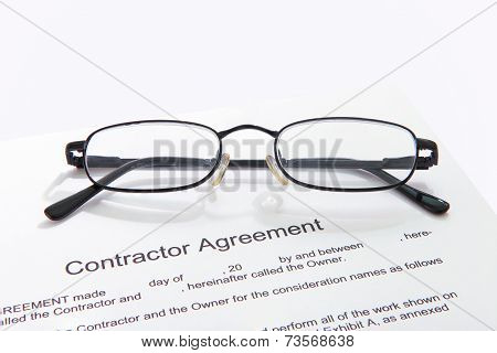 Contractor agreement with glasses