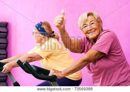 Senior Fitness Woman Doing Thumbs Up.