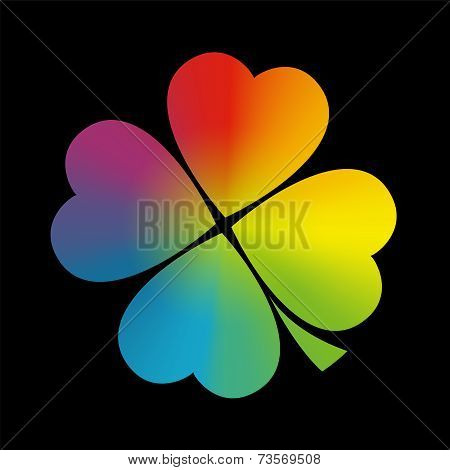 Four Leaved Clover Rainbow Gradient Black