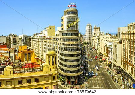MADRID, SPAIN - AUGUST 11: Aerial view of the Gran Via on August 11, 2014 in Madrid, Spain. Gran Via is known as the Spanish Broadway because is the location of the most important theaters in the city