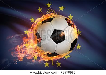 Soccer Ball With Flag On Background Series - Indiana