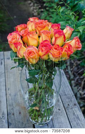 Roses Bunch In Vase