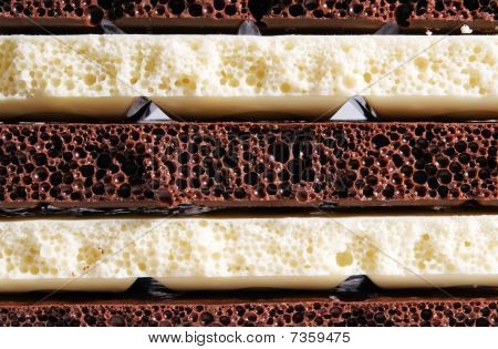 Strips Of Black And White Porous Chocolate