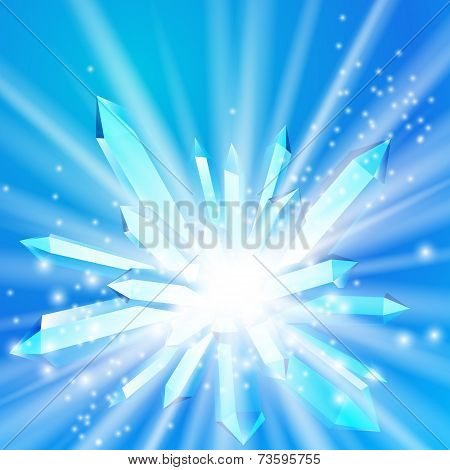 Vector illustration of a crystal with rays