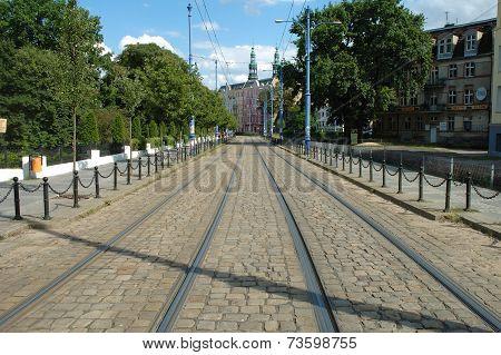 Tram Tracks On Podgorna Street In Poznan, Poland