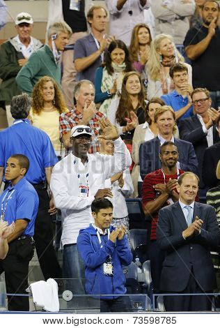 Michael Jordan attends first round match between Roger Federer and Marinko Matosevic at US Open 2014