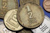 Coins of Israel. Israeli half new shekel coin. poster
