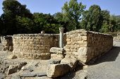 Ancient synagogue remains on Agrippa palace territory in Banias National park Israel. poster