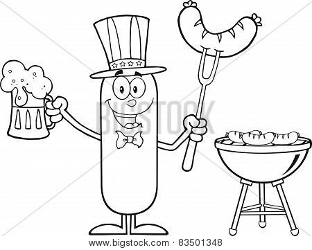 Black And White Patriotic Sausage Cartoon Character Holding A Beer And Weenie Next To BBQ