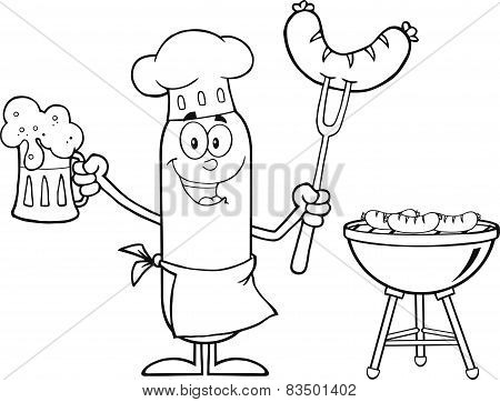 Black And White Happy Chef Sausage Cartoon Character Holding A Beer And Weenie Next To BBQ