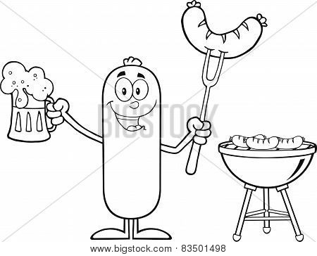 Black And White Happy Sausage Cartoon Character Holding A Beer And Weenie Next To BBQ