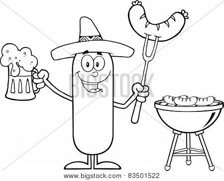 Black And White Mexican Sausage Cartoon Character Holding A Beer And Weenie Next To BBQ
