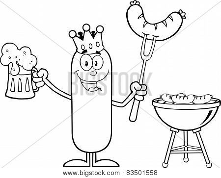 Black And White Happy King Sausage Holding A Beer And Weenie Next To BBQ