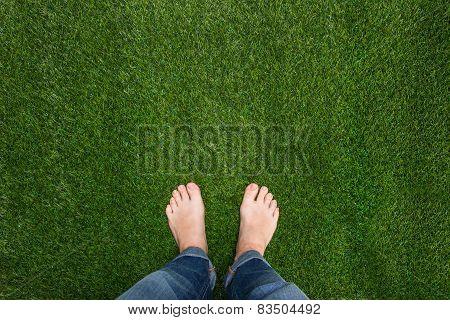 Mens Feet Standing On Grass