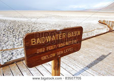 Badwater Basin sign in Death Valley National Park