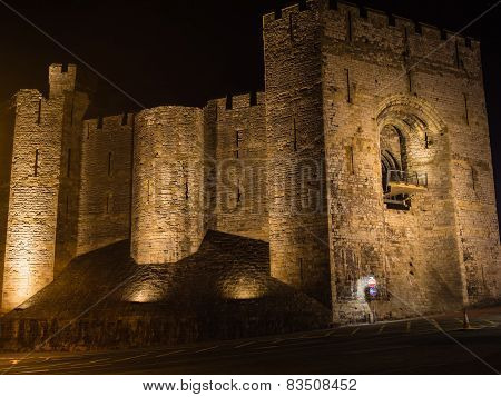 View on Caernarfon Castle at night