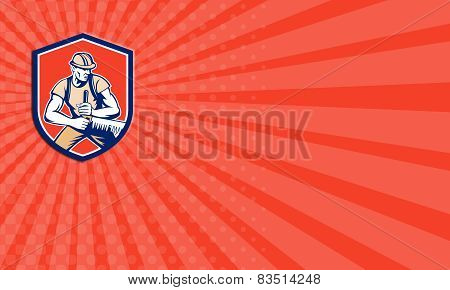 Business Card Lumberjack Logger Crosscut Saw Shield Retro