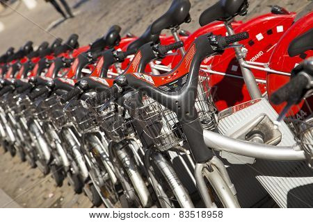 Velo'v Grand Lyon Shared Bikes Are Lined Up In The Streets Of Lyons