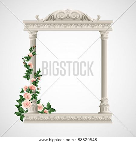 Portico an ancient temple. Colonnade.  Vector Illustration