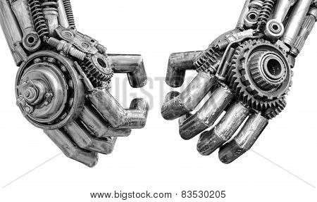 Hand of Metallic cyber or robot made from Mechanical ratchets bolts and nuts.