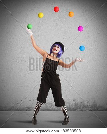 Clown like a juggler