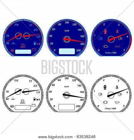 Set of car speedometers for racing design. vector illustration