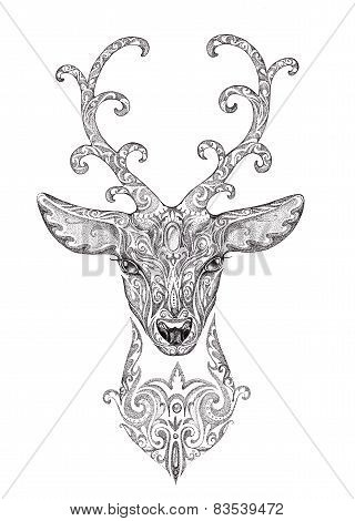 Stylized Image, Tattoo Of A Beautiful Forest Deer Head With Horns, Black And White Graphics