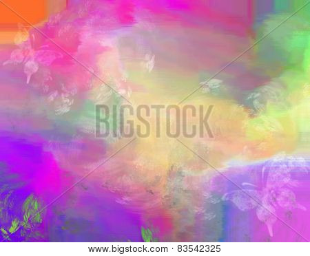 Abstract Colorful Painting With Butterflies Motif