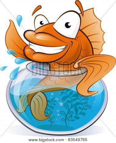 Cute Goldfish In His Little Fishtank.