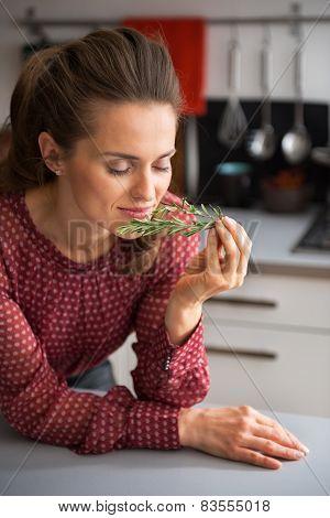 Young Housewife Enjoying Fresh Rosmarinus