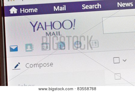 Galati, Romania, February 24, 2015: Close Up Of Yahoo Home Page On Laptop Screen