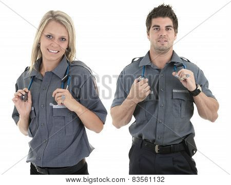 Paramedic team employee in the front of a white background poster