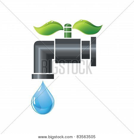 Water tap or faucet with droplet and green leaves