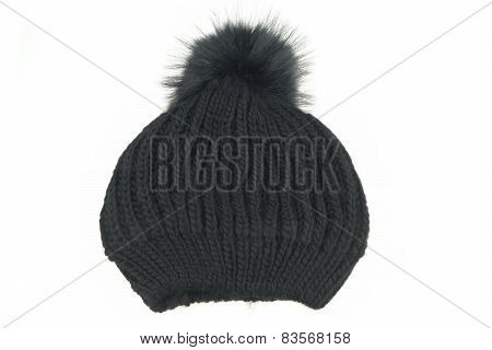 Black Knitted Wool Winter Ski Hat with Pom Pom Isolated On White Background poster