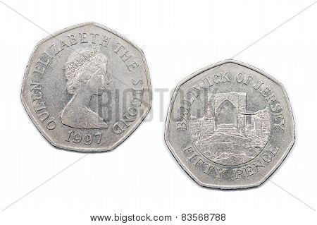 A Fifty pence coin from the Bailiwick of Jersey circa 1997. poster