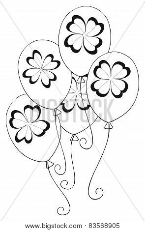 Happy Holiday - Balloons With 4 Leaves Clover