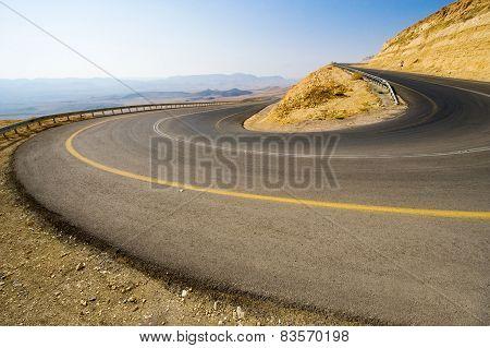 Hairpin Bend In Desert