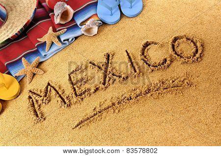 Mexico Written In Beach Sand