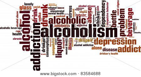 Alcoholism Word Cloud Concept. Isolated on White poster