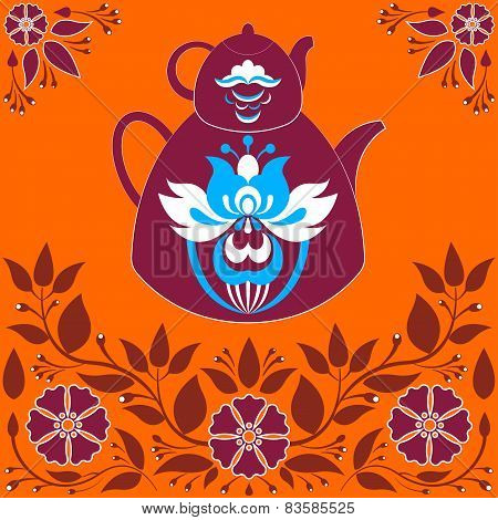 Vector Illustration A Teapot On A Orange Background.