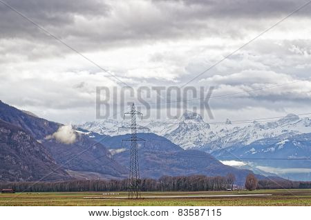 Mountain View In Evian-les-bains In France In The New Year In Winter