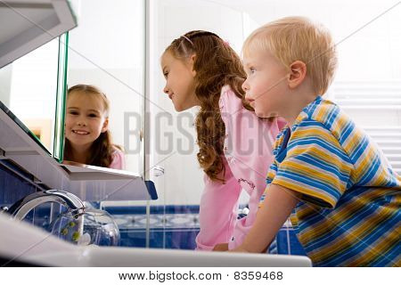 Children In The Bathroom
