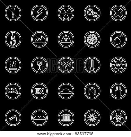 Warning Sign Line Icons On Black Background