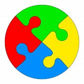 Jigsaw puzzle in the form of a colored circle. Vector illustration. poster