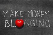 make money blogging phrase handwritten on blackboard with heart symbol instead of O poster