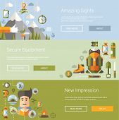 Modern flat design illustrations of camping and hiking info graphic vector elements poster