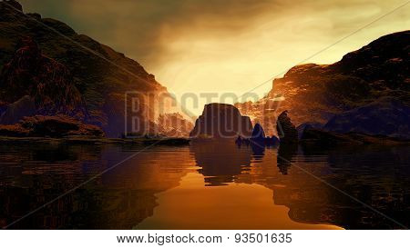 3D illustration of landscape with two grand mountains and rock formations