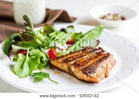 Glazed Salmon With Salad